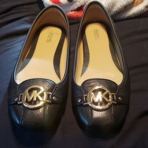 Michael Kors Black Leather Flats with Gold logo